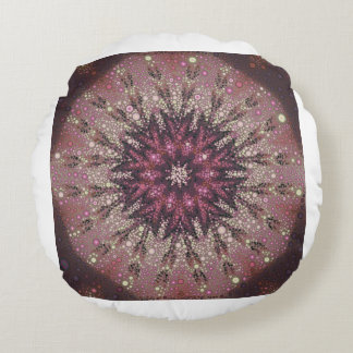 Crystal Rose Kaleidoscope Round Pillow