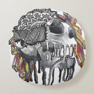 Crystal Skull Mandala Round Pillow