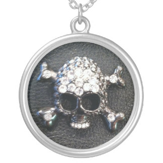 CRYSTAL SKULL ON BLACK print necklace