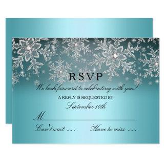 Crystal Snowflake Blue Winter RSVP Card