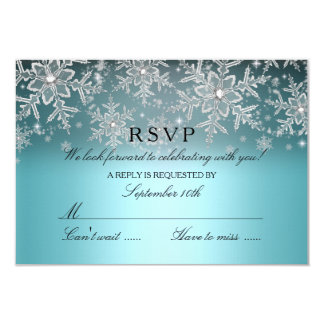 Crystal Snowflake Blue Winter RSVP Card