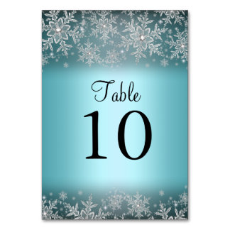 Crystal Snowflake Blue Winter Table Number Card Table Cards