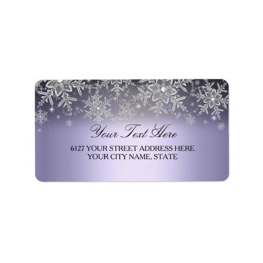 Crystal Snowflake Purple Winter Address Label