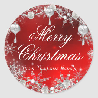 Crystal Snowflake Red Christmas Holiday Sticker