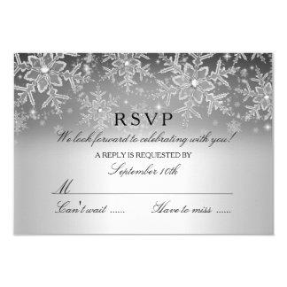 "Crystal Snowflake Silver Winter RSVP 3.5"" X 5"" Invitation Card"
