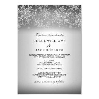Crystal Snowflake Silver Winter Wedding Invitation
