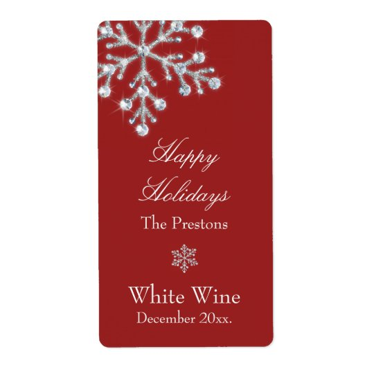 Crystal Snowflake Wine Label (red) Shipping Label