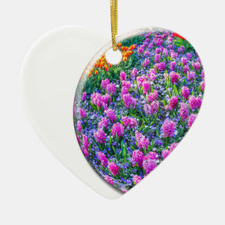 Crystal sphere with pink hyacinths on white ceramic heart ornament