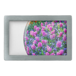 Crystal sphere with pink hyacinths on white rectangular belt buckle