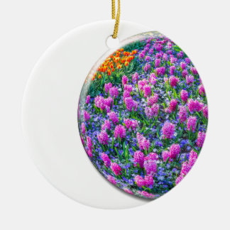 Crystal sphere with pink hyacinths on white round ceramic ornament