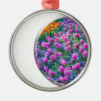 Crystal sphere with pink hyacinths on white Silver-Colored round ornament