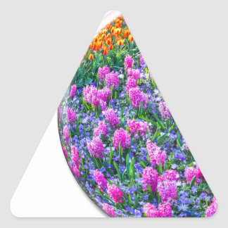 Crystal sphere with pink hyacinths on white triangle sticker