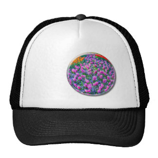 Crystal sphere with pink hyacinths on white trucker hat