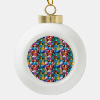 Crystal Stone Jewel Pattern Ceramic Ball Christmas Ornament