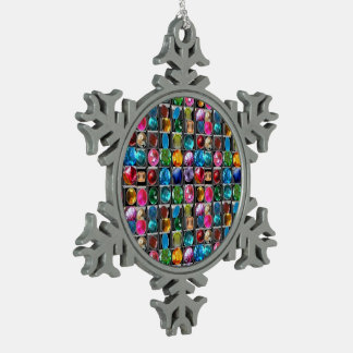 Crystal Stone Jewel Pattern Snowflake Pewter Christmas Ornament