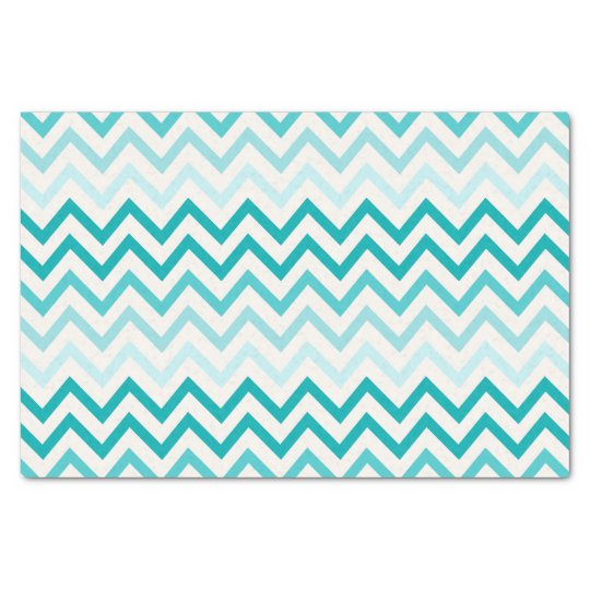 Crystal Teal Blue Water Chevron pattern Tissue Paper