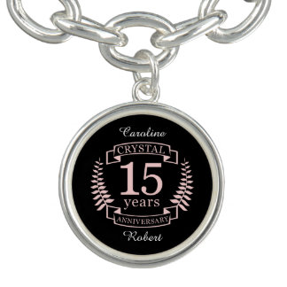 Crystal wedding anniversary 15 years charm bracelets