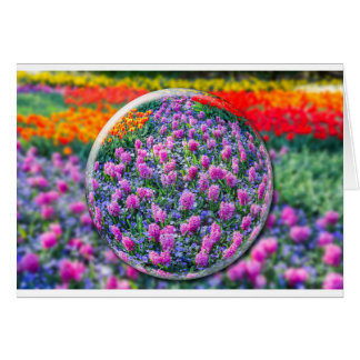 Crystall ball with pink hyacinths and flowers card