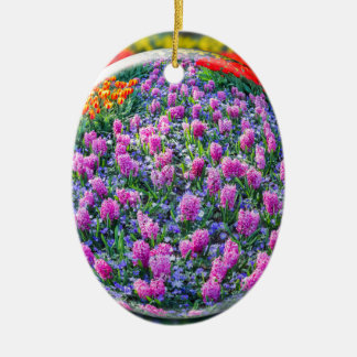 Crystall ball with pink hyacinths and flowers ceramic oval ornament