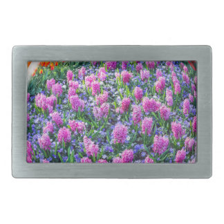 Crystall ball with pink hyacinths and flowers rectangular belt buckles