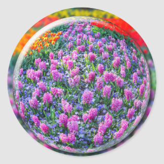 Crystall ball with pink hyacinths and flowers round sticker