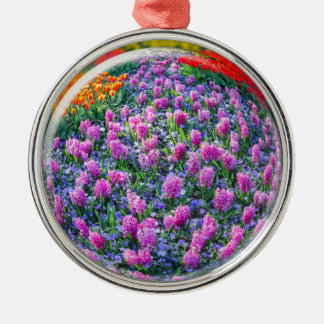 Crystall ball with pink hyacinths and flowers Silver-Colored round ornament