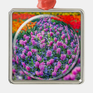 Crystall ball with pink hyacinths and flowers Silver-Colored square ornament