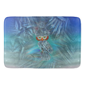 Crystallized Winter Fashion Owl Bath Mat