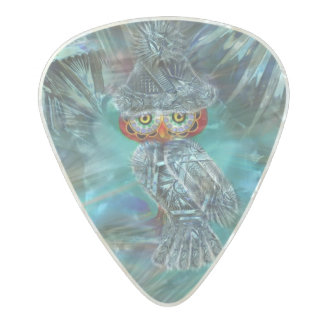 Crystallized Winter Fashion Owl Pearl Celluloid Guitar Pick