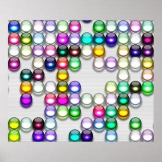Crystals Art Random Colors Balls 12 x 10 Poster