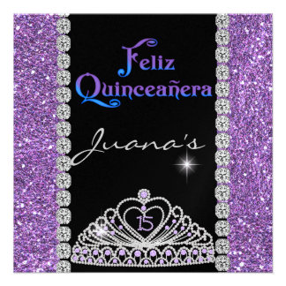 CRYSTALS QUINCEANERA PURPLE PERSONALIZED INVITES