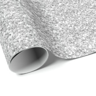 Crystals White Delicate Gray Silver Glitter Wrapping Paper