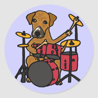 CT- Puppy Dog Playing the Drums Sticker