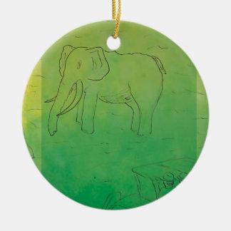 CTC International - Elephant Round Ceramic Ornament