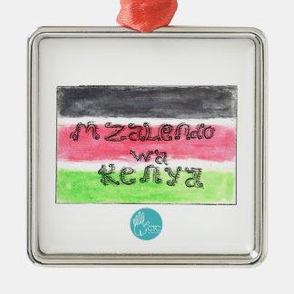 CTC International - Flag Silver-Colored Square Ornament