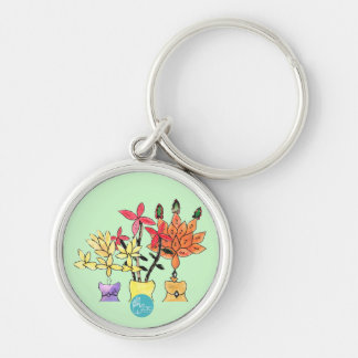 CTC International - Flowers Silver-Colored Round Keychain