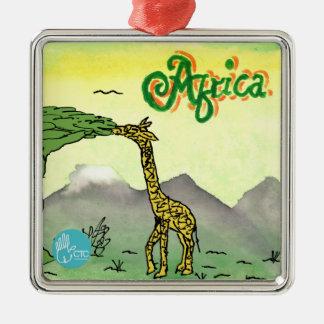 CTC International - Giraffe Silver-Colored Square Ornament