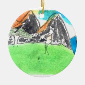 CTC International - Man and River Round Ceramic Ornament