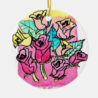 CTC International -  Roses 3 Round Ceramic Ornament