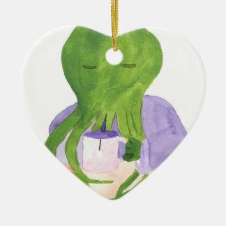 Cthulhu Has A Cup Of Tea Ceramic Heart Ornament