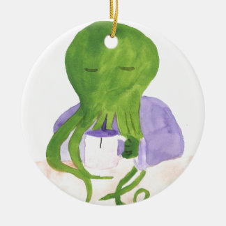 Cthulhu Has A Cup Of Tea Round Ceramic Ornament