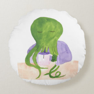 Cthulhu Has A Cup Of Tea Round Pillow