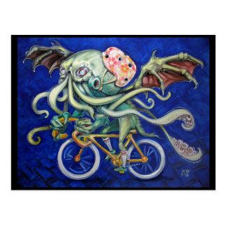 Cthulhu On a Bicycle Postcard