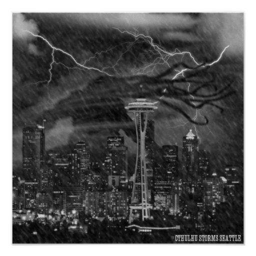 Cthulhu Storms Seattle Poster
