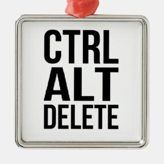 Ctrl+Alt+Delete Silver-Colored Square Ornament