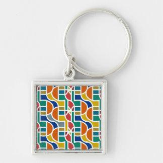 Ctrl in colors / Small (3.5 cm) Premium Square Key Silver-Colored Square Keychain