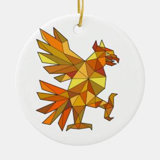 Cuauhtli Glifo Eagle Fighting Stance Low Polygon Ceramic Ornament