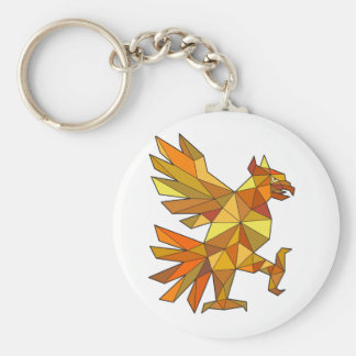 Cuauhtli Glifo Eagle Fighting Stance Low Polygon Keychain