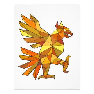 Cuauhtli Glifo Eagle Fighting Stance Low Polygon Letterhead