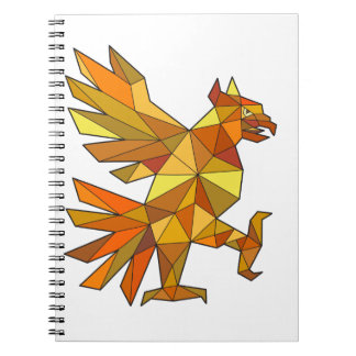 Cuauhtli Glifo Eagle Fighting Stance Low Polygon Notebooks